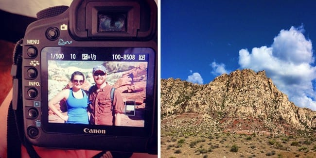 A collage of two images showing the back of a camera and a brunette woman and a red-haired man smiling and a red rock formation with a blue sky behind it