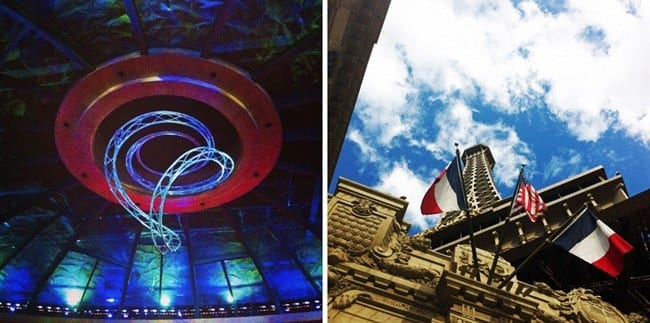 A collage of two images showing a lit-up abstract sculpture on a ceiling and looking up at the Paris Paris Eiffle Tower