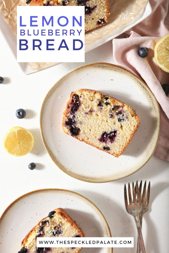 Slices of blueberry bread on plates with the text lemon blueberry bread