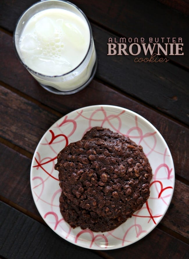 Soft, chewy and gluten AND dairy free, these Almond Butter Brownie Cookies are the perfect sweet treat. These oatmeal cookies are nutty, chocolatey and absolutely delicious with a glass of dairy-free milk.
