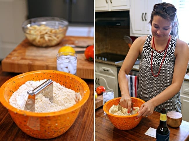 A collage of two images showing flour and other pie ingredients in an orange bowl and a woman in a black and white top blending the pie crust together