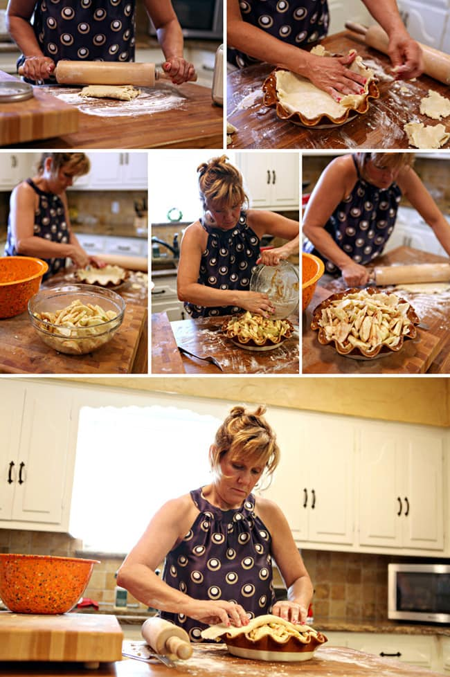 A collage of six images showing a woman working in a kitchen to roll out, prepare and fill a pie crust with apple slices