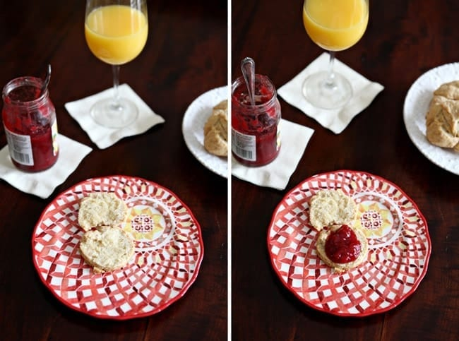 Collage of two images showing a red patterned plate holding an open biscuit and a biscuit with a dollop of raspberry jam on a dark wooden tabletop