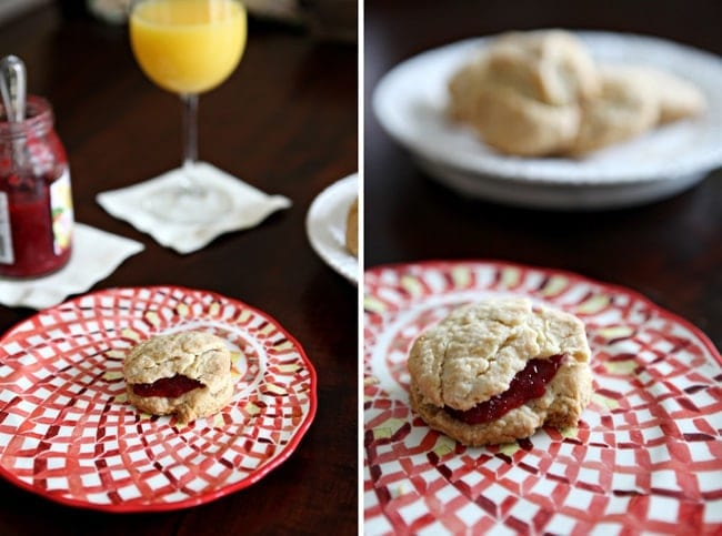 Collage of two images showing a biscuit with jam on a patterned red plate and a close up of the biscuit on the plate