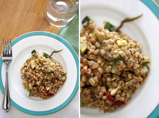 Collage of two different views of Veggie Fried Barley on a plate