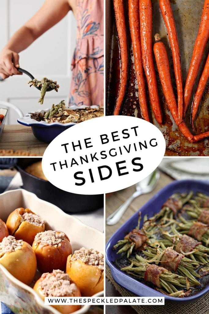 Collage of four images showing different Thanksgiving sides with the text 'the best thanksgiving sides'