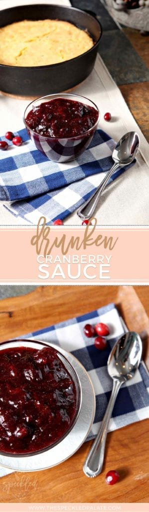 A collage showing a bowl of cranberry sauce and the same bowl close up with the text 'drunken cranberry sauce'