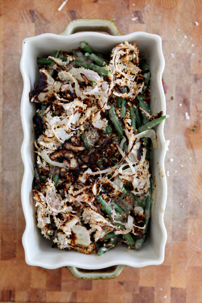 Celebrate Thanksgiving this year with a twist on a tradition: Fresh Green Bean Casserole, which is made with all-fresh ingredients and vegan. It's a perfect side for a Thanksgiving feast.