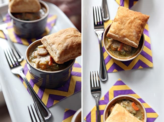 Collage of two images showing mini pot pies with puff pastry squares on top of them from the site and from above