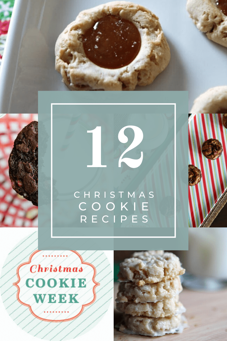Collage of 6 cookies for 2013's Christmas Cookie Week for Pinterest