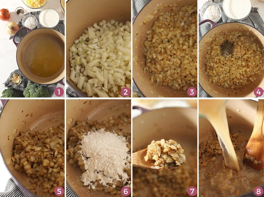 A collage of eight images showing how vegetables are sauted and spices are added before the vegetable stock