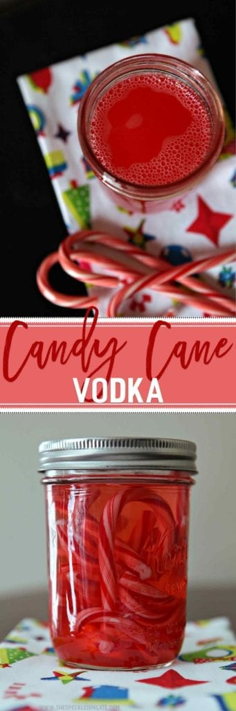 Collage of two images showing a mason jar surrounded by candy canes and filled with pink liquid and another showing the mason jar from the side with whole candy canes in it