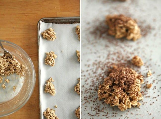 Scoops of oatmeal crisp laying on baking sheet
