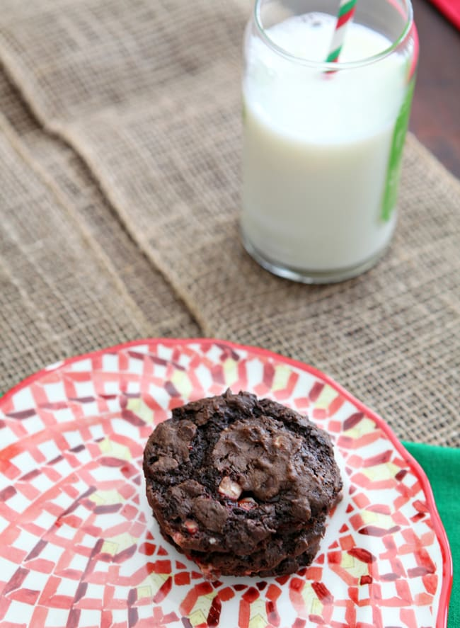 Peppermint Dark Chocolate Cookies sing of the holiday season with their combination of chocolate and peppermint. These dense cookies are the perfect treat for Santa!