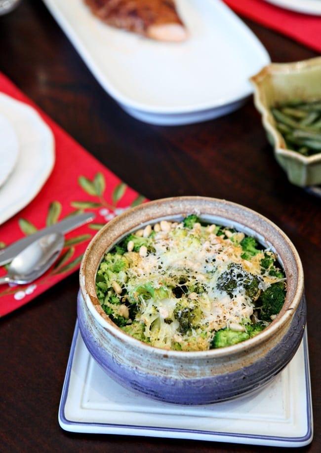 Christmas Potluck Recipes: Parmesan Pine Nut Broccoli // The Speckled Palate