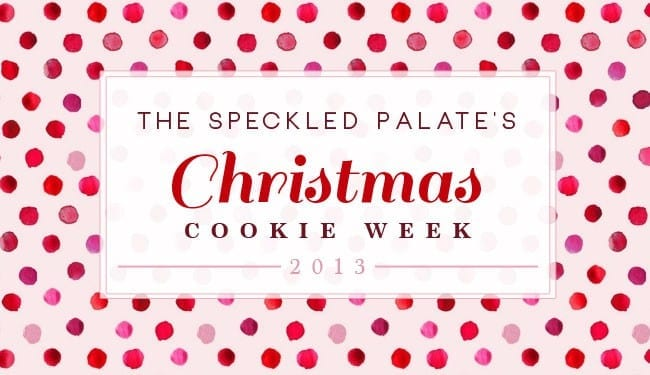 The Speckled Palate Christmas Cookie Week 2013 graphic with pink and red polka dots and text