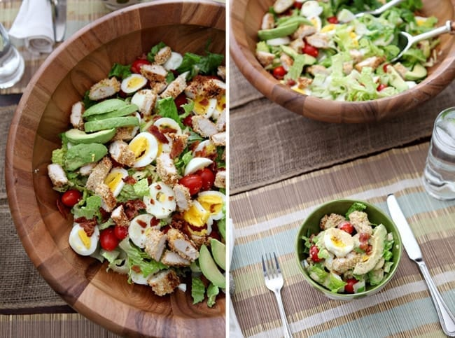 Get your homemade salad fix with this delectable Cobb Salad adaptation, calling for crunchy baked chicken, avocados and lots of vegetables!