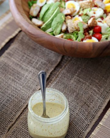 Creamy and tart Honey Mustard Dressing, perfectly paired with any of your favorite salads. Goes wonderfully on Avocado and Panko-Crusted Chicken Cobb Salad.