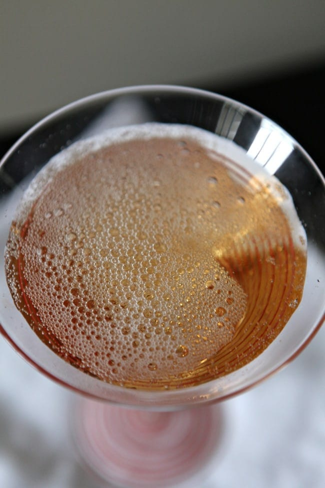 Overhead close up of Southern Champagne in glass