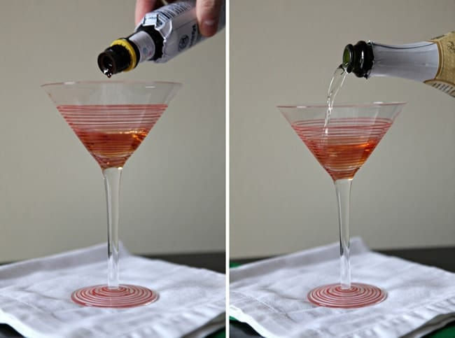 Southern Comfort and Champagne being poured into cocktail glasses