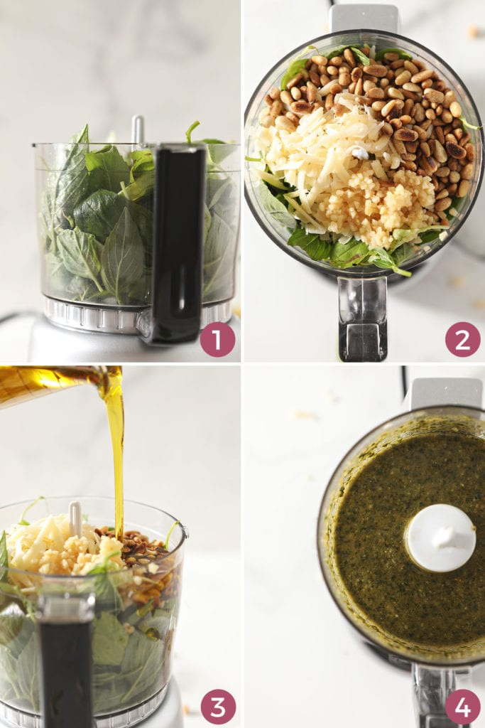 Collage showing how to make basil pesto in a food processor