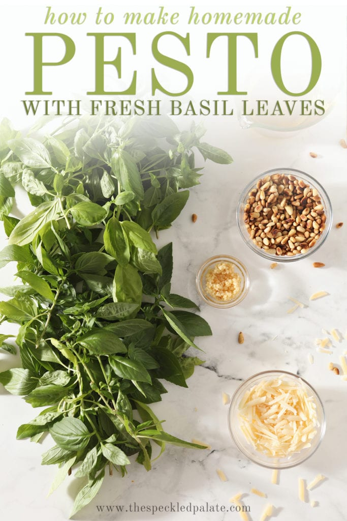 Basil, parmesan, and other ingredients in bowls with the text how to make homemade pesto with fresh basil leaves