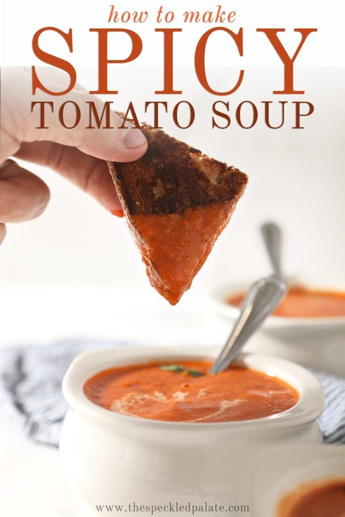 A triangle of a grilled cheese sandwich is dipped into a bowl of tomato soup with the text 'how to make spicy tomato soup'
