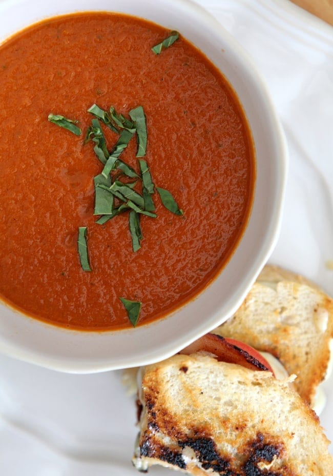 Spicy Tomato Soup (paired with a Fancy Grilled Cheese Sandwich) // The Speckled Palate