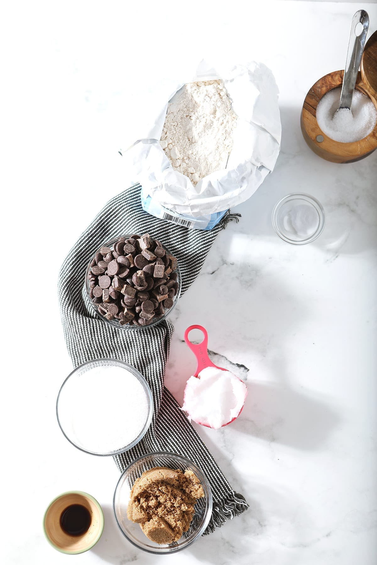 Ingredients for cookies, shown from above on a marble surface