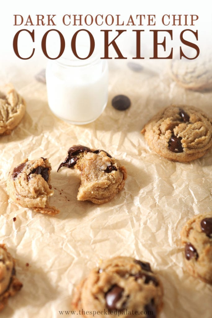 Cookies, fresh out of the oven, are shown on brown paper with shot glasses of milk, with Pinterest text