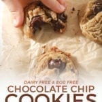 A girl grabs a Chocolate Chip Cookie, from above, with Pinterest text