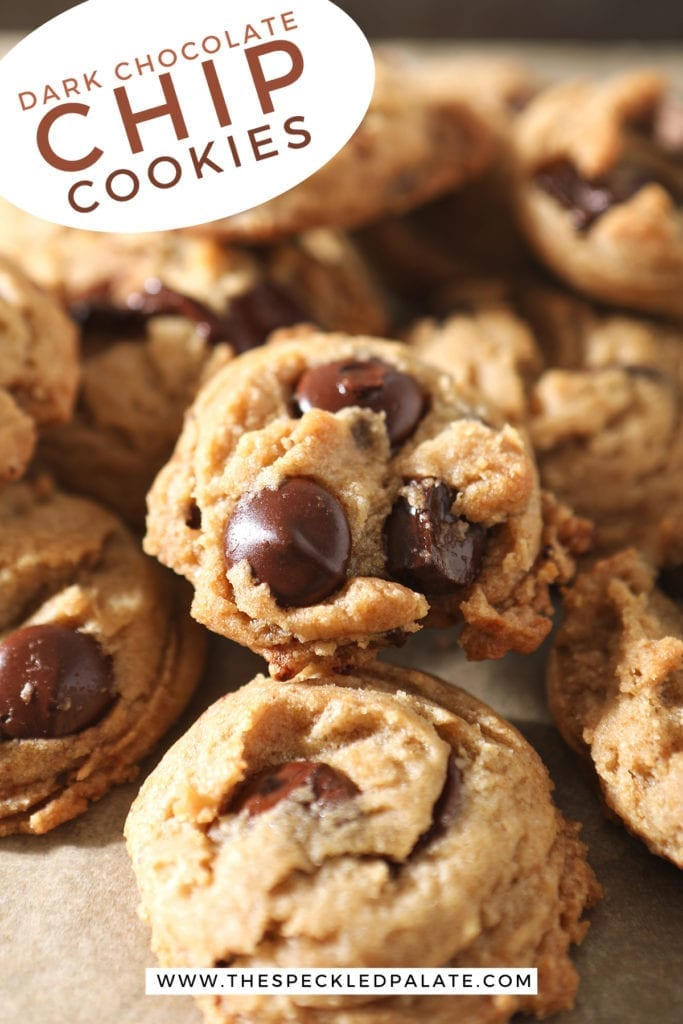 Close up of Dark Chocolate Chip Cookies, with Pinterest text