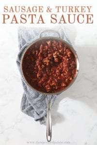 Overhead of a skillet full of marinara sauce, with Pinterest text