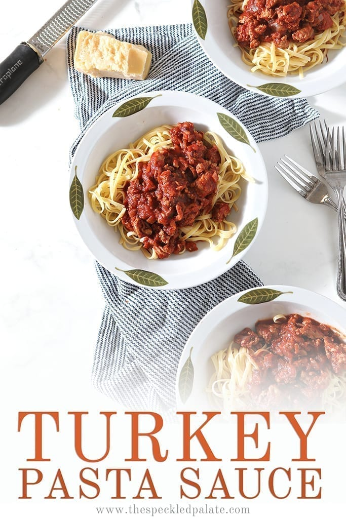 Spicy Sausage Ground Turkey Pasta Sauce is a fast, easy family meal! Toss this meaty homemade tomato sauce with your favorite noodles for a comforting dinner. #easyentertaining #easydinner #speckledpalate
