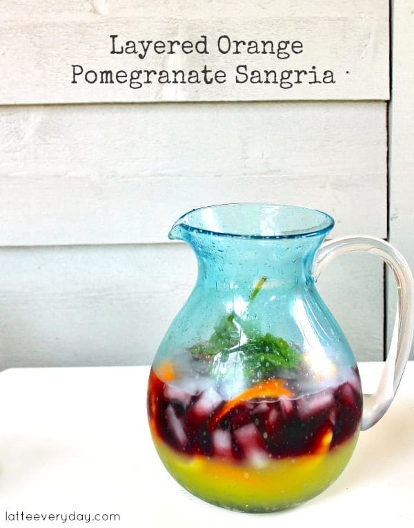 Layered Orange Pomegranate Sangria from Latte Everyday// That's Fresh Friday at The Speckled Palate