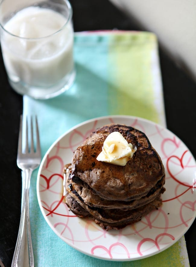 Start off the week right with these decadent, dairy-free, homemade Double Chocolate Pancakes! They are perfect for a crowd, too, so invite your neighbors!