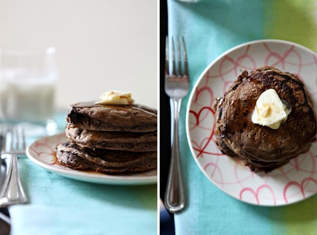 Start off the week right with these decadent and completely homemade Double Chocolate Pancakes! They're perfect for a crowd, too, so invite your neighbors!