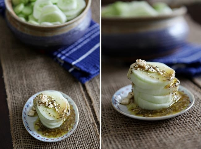 Collage of two images showing a small stack of cucumbers with a feta vinaigrette on top of them on a burlap-covered table
