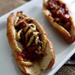 Hot Dogs with Caramelized Onions on Homemade Pretzel Buns
