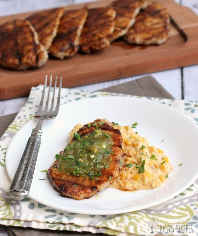 Coffee-Rubbed Pork Chops with Creamy Queso Corn from Erica's Recipes // That's Fresh Friday at The Speckled Palate