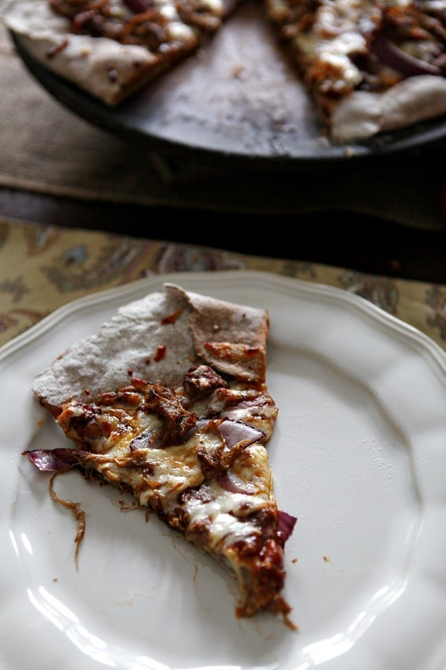 BBQ Pulled Pork Pizza with Red Onions and Extra BBQ Sauce // The Speckled Palate