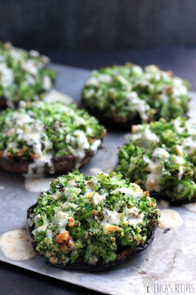 Broccoli-Stuffed Portabello Mushrooms with Dijon-Cheddar Sauce from Erica's Recipes// That's Fresh Friday at The Speckled Palate