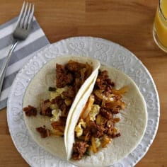 Andouille Sausage Breakfast Tacos // The Speckled Palate
