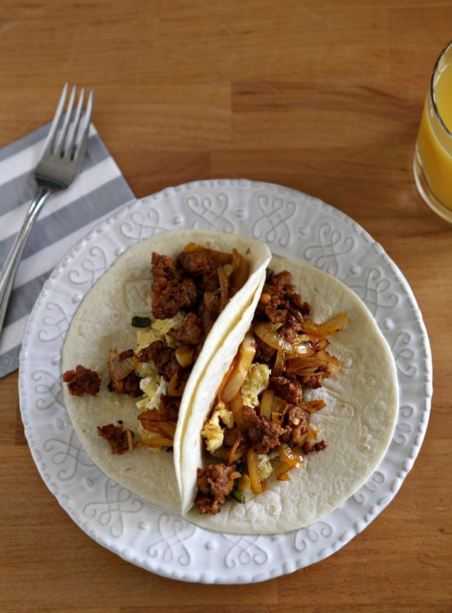 Andouille Sausage Breakfast Tacos - The Speckled Palate