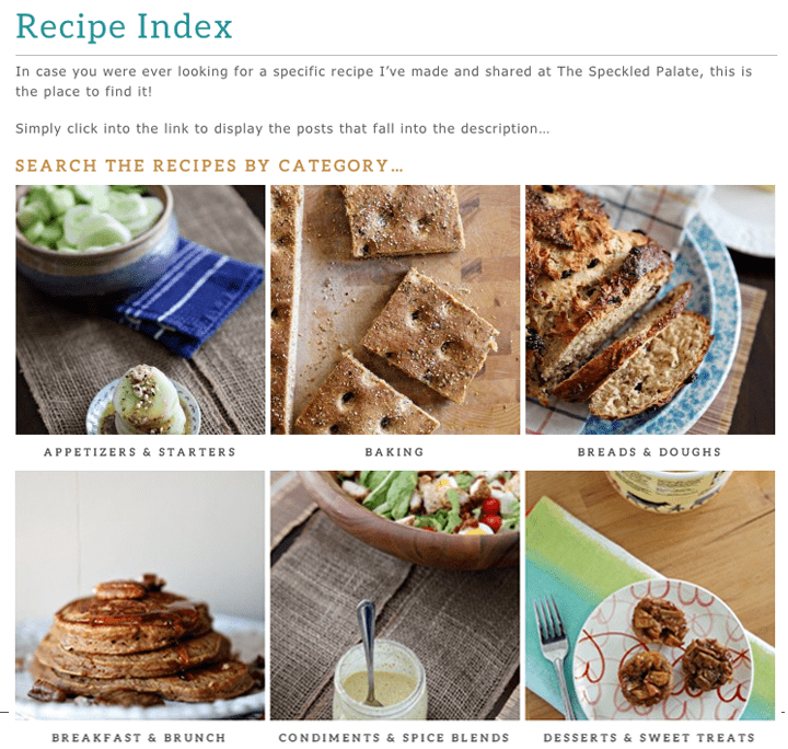 The Speckled Palate: Version 3.1 Recipe Index // The Speckled Palate