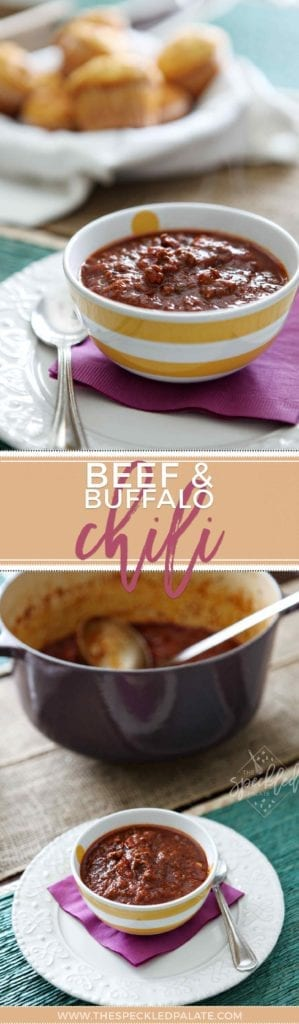 Slightly spicy and completely comforting Beef and Buffalo Chili is a new household favorite in our household! | Beef Chili | Buffalo Chili | Homemade Chili | Beanless Chili | Chili without Beans | Spicy Chili Recipe | Winter Recipe | Comfort Food