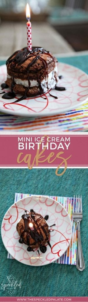 Info Graphic of mini ice cream birthday cake on plate with hearts