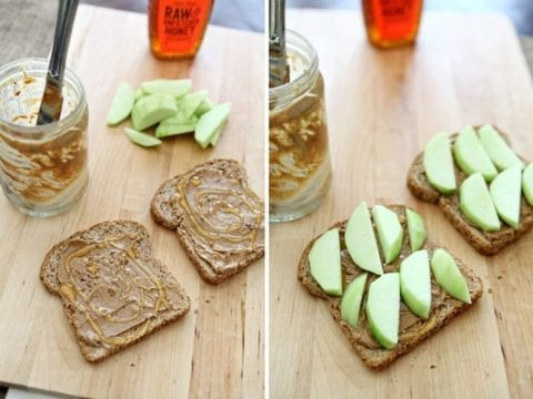Toasted Almond Butter Sandwich with Apples and Honey