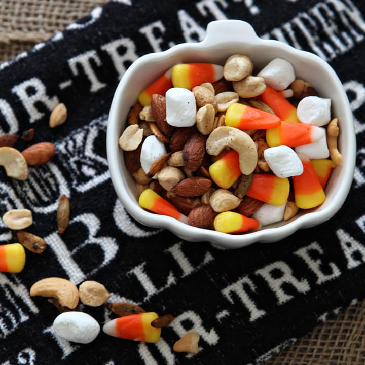 Sweet and salty, this Halloween Trail Mix is a fall snack that's a little healthier than bingeing on copious amounts of Halloween candy. A combination of assorted nuts, mini marshmallows and the seasonal favorite, candy corn, this trail mix is perfect for anyone who adores the combination of sweet and salty! Learn how to make this recipe at My Cooking Spot today!