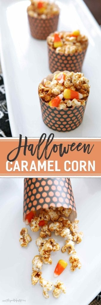 Looking for a sweet-and-salty treat to enjoy while handing out candy to trick-or-treaters this Halloween? Look no farther than this delectable Halloween Caramel Corn, which is made in a flash and totally delectable!